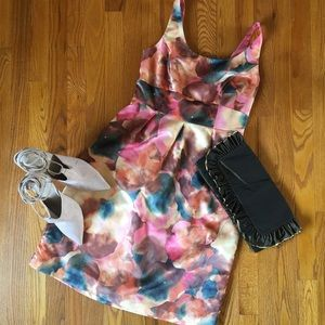 Yellow/Green/Coral Watercolor Floral A-Line Dress